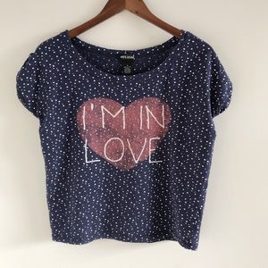 Wet Seal I'm in Love Polka Dot Heart Graphic Tee S